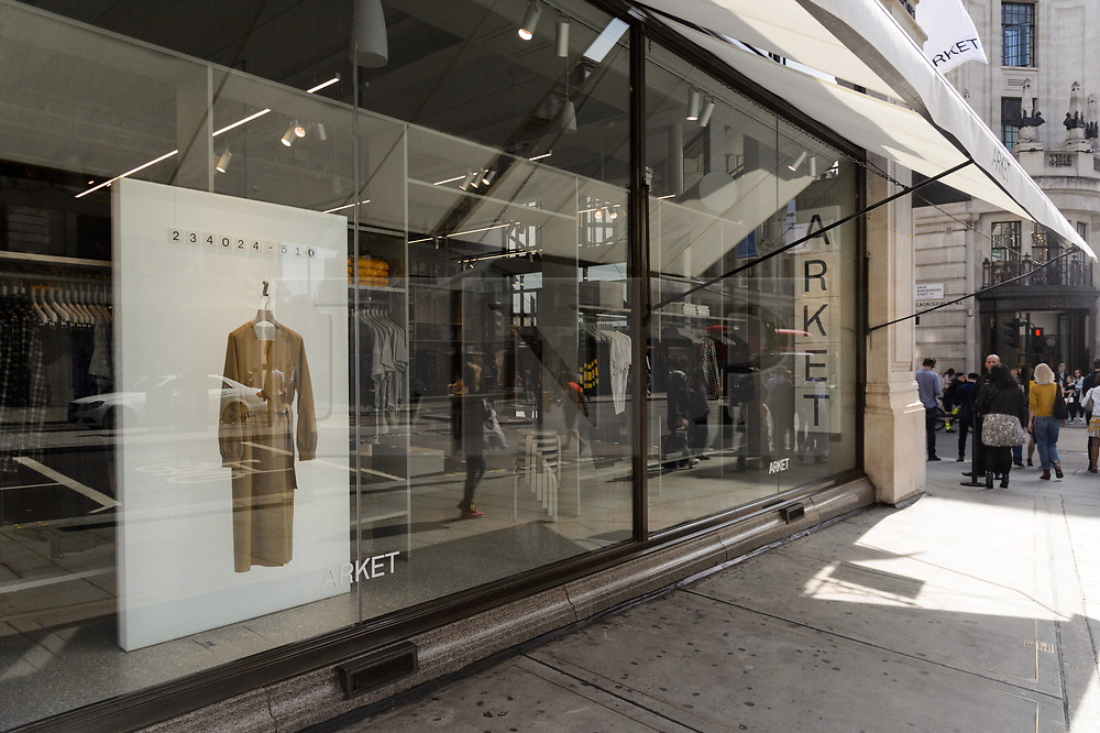 © Licensed to London News Pictures. 25/08/2017. London, UK. A window display at the opening of H&M group's first ARKET flagship store in Regent Street. ARKET has called itself a modern day market seeing not only clothes, but homeware as well as a small cafe space. Photo credit: Ray Tang/LNP
