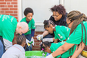 Hundreds of volunteers pitch in to clean up, paint, and landscape the Lincoln Bassett Community School in New Haven, CT as one of the many such efforts coordinated across the country as part of Comcast Cares Day.