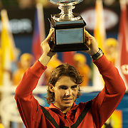 Rafael Nadal during the trophy presentation after winning  Men's Singles Final at the Australian Tennis Open on February 1, 2009 in Melbourne, Australia. Photo Tim Clayton    .