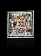 Roman mosaics - Geometric Mosaic. House of Okeanos, Ancient Zeugama, 2nd - 3rd century AD . Zeugma Mosaic Museum, Gaziantep, Turkey.   Against a black background. .<br /> <br /> If you prefer to buy from our ALAMY PHOTO LIBRARY  Collection visit : https://www.alamy.com/portfolio/paul-williams-funkystock/roman-mosaic.html - Type -   Zeugma   - into the LOWER SEARCH WITHIN GALLERY box. Refine search by adding background colour, place, museum etc<br /> <br /> Visit our ROMAN MOSAIC PHOTO COLLECTIONS for more photos to download  as wall art prints https://funkystock.photoshelter.com/gallery-collection/Roman-Mosaics-Art-Pictures-Images/C0000LcfNel7FpLI