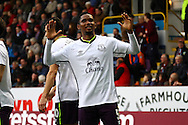 Everton's Samuel Eto'o celebrates after scoring his teams 3rd goal. Barclays Premier league match, Burnley v Everton at Turf Moor in Burnley, Lancs on Sunday 26th October 2014.<br /> pic by Chris Stading, Andrew Orchard sports photography.