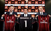 David Han Li, Yonghong Li, Marco Fassone <br /> Milano 14-04-2017 <br /> Presentazione nuova proprieta AC Milan <br /> New Ac Milan properties <br /> Foto Studio Buzzi/ Pool / Insidefoto