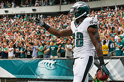 Philadelphia Eagles wide receiver Jeremy Maclin #18 makes a hand gesture after scoring a touchdown during the NFL Game between The Washington Redskins and The Philadelphia Eagles at Lincoln Financial Field in Philadelphia on Sunday September 21st 2014. The Eagles won 37-34. (Brian Garfinkel/Philadelphia Eagles)