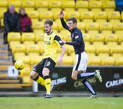 Livingston Jordan White and Falkirk's Aaron Muirhead. <br /> Half time : Livingston 0 v 1 Falkirk, Scottish Championship game at The Tony Macaroni Arena at 23/1/2016.