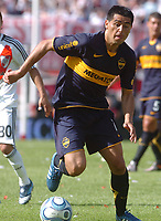 Fotball<br /> Foto: Piko Press/Digitalsport<br /> NORWAY ONLY<br /> <br /> River Plate (0) Vs BOCA Jrs. (1) in the Argentine First Division derby soccer match at Monumental stadium in Buenos Aires, Argentina. October 19, 2008<br /> Here Boca Jrs. JUAN ROMAN RIQUELME