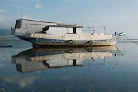 Boats anchored offshore near Vila, Atauro Island, Timor-Leste (East Timor)