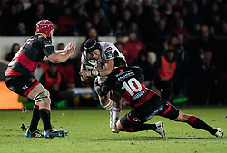 Ulster Rugby's Matthew Dalton is tackled by Dragons' Gavin Henson<br /> <br /> Photographer Simon King/Replay Images<br /> <br /> Guinness Pro14 Round 10 - Dragons v Ulster - Friday 1st December 2017 - Rodney Parade - Newport<br /> <br /> World Copyright © 2017 Replay Images. All rights reserved. info@replayimages.co.uk - www.replayimages.co.uk