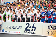 June 10-16, 2019: 24 hours of Le Mans. 8 TOYOTA GAZOO RACING, TOYOTA TS050 - HYBRID, Sébastien BUEMI, Kazuki NAKAJIMA, Fernando ALONSO, 7 TOYOTA GAZOO RACING, TOYOTA TS050 - HYBRID,  Mike CONWAY, Kamui KOBAYASHI, Jose Maria LOPEZ drivers group photo