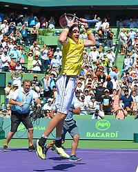 April 1, 2018 - Miami, FL, United States - Miami, FL - APRIL 1: John Isner (USA) celebrates after defeating Alexander Zverev (GER) 67(4) 64 64 2018 Miami Open held at the Tennis Center at Crandon Park on April 1, 2018.   Credit: Andrew Patron/Zuma Wire (Credit Image: © Andrew Patron via ZUMA Wire)