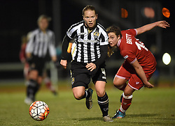 Notts County Ladies FC's Danielle Buet brushes past Jodie Brett of Bristol City Women - Mandatory by-line: Paul Knight/JMP - Mobile: 07966 386802 - 23/02/2016 -  FOOTBALL - Stoke Gifford Stadium - Bristol, England -  Bristol City Women v Notts County Ladies - Pre-season friendly