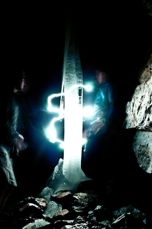My friend Scott and I take a long exposure and light paint around a giant ice column we found in a cave in the Tetons in Idaho.