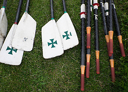 © Licensed to London News Pictures.13/06/15<br /> Durham, England<br /> <br /> Oars are laid out on the grass ahead of racing during the 182nd Durham Regatta rowing event held on the River Wear. The origins of the regatta date back  to commemorations marking victory at the Battle of Waterloo in 1815. This is the second oldest event of this type in the country and attracts over 2000 competitors from across the country.<br /> <br /> Photo credit : Ian Forsyth/LNP