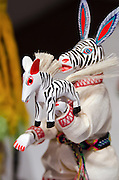 "A painted wooden zebra in Laura Anderson Barbata's exhibition, ""Transcomunalidad,"" Oaxaca, Mexico."