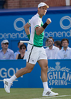 Tennis - 2017 Aegon Championships [Queen's Club Championship] - Day Three, Wednesday<br /> <br /> Men's Singles: Round of 16 _ Tomas Berdych (CZE) Vs Denis Shapovalov (CAN)<br /> <br /> Tomas Berdych (CZE) celebrates on the centre court at Queens Club<br /> <br /> COLORSPORT/DANIEL BEARHAM