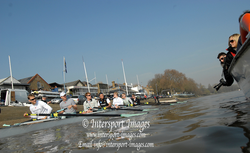 Putney. London. Cambridge Blue Boat, Friday early morning training outing. Tideway Week, build up to the  2011 University Boat Race over parts of the Championship Course - Putney to Mortlake. Friday  25/03/2011 [Mandatory Credit; Peter Spurrier/Intersport-images]..Cambridge (from bow): Mike THORP (GB), Joel JENNINGS (GB), Dan RIX-STANDING (GB), Hardy CUBAUSH (Aus), George NASH (GB), Geoff ROTH (Can), Derek RASMUSSEN (US), David NELSON (Aus), Cox: Liz BOX (GB) 2011 Tideway Week