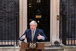 London, UK. 13 December, 2019. Prime Minister Boris Johnson makes an address to the nation outside 10 Downing Street after the Conservative party won the general election with a majority in the House of Commons of 80.