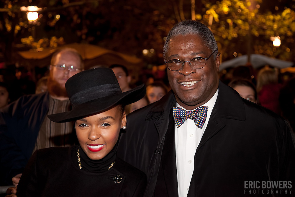 Janelle Monáe with Kansas City MO Mayor Sly James at the Mayor's Christmas Tree Ligthting at Crown Center, KCMO, Nov. 25. 2011.