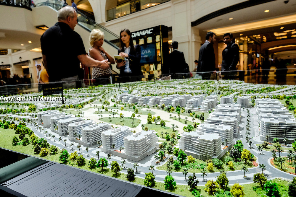 Model of new housing development at Akoya Park by Damac featuring a Trump luxury estate in Dubai United Arab Emirates