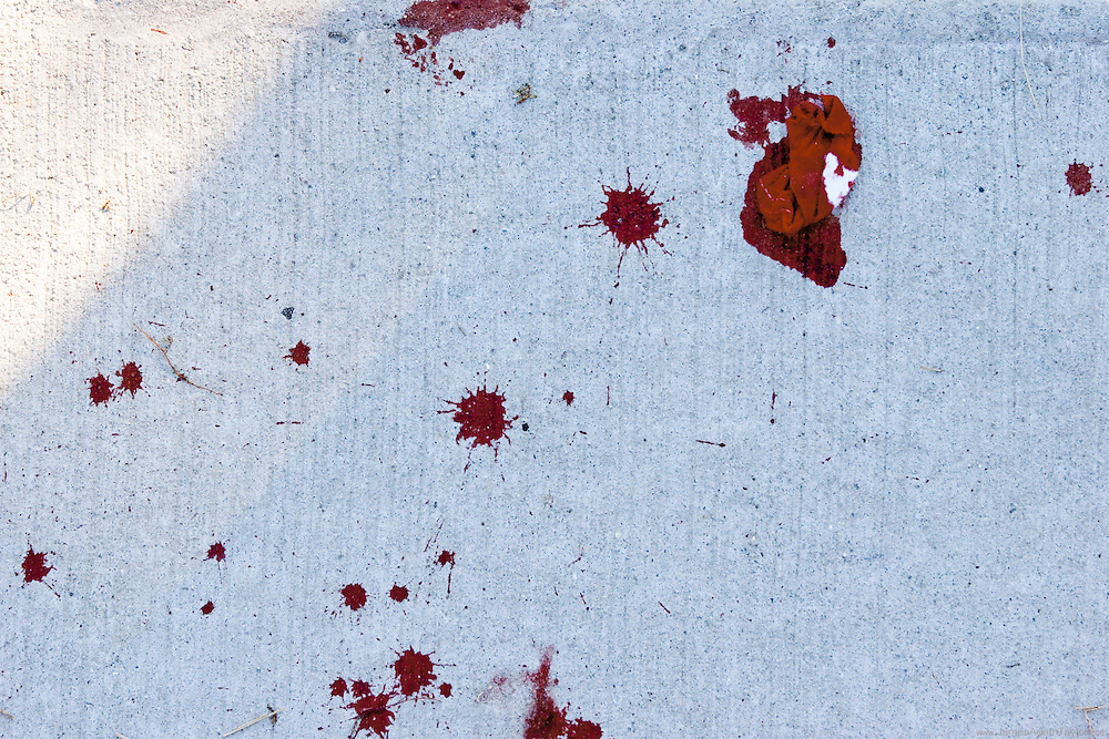 Blood spattered sidewalks in the aftermath of the World Series Phillies Celebration.