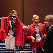 CHARLOTTE, NC - August 24:  RNC delegates reacts as President Donald Trump speaks to at the 2020 Republican National Convention inside the Charlotte Convention in uptown Charlotte on August 24, 2020. The 1 day, in person convention began Monday afternoon and will end the same day after the party official re-nominates President Donald Trump and Vice President Mike Pence. The rest of the convention will go virtual. (Photo by Logan Cyrus for AFP)