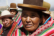 Choritotoro. Group of Aymara women wearing traditional costume and distinctive hats.
