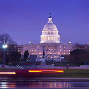 United States Congress House (Capitol) at night with light streaks from cars
