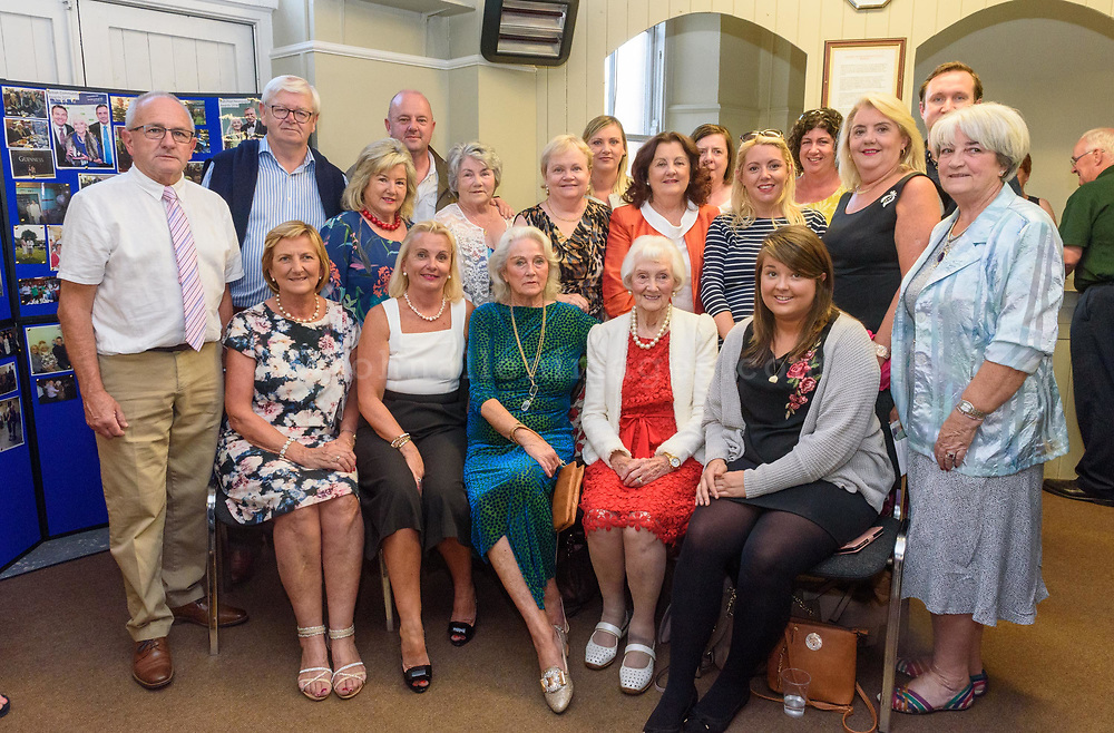95 yr old Aggie Ford from Greenwich, London (in red dress and white coat) pictured with family members including Charles Henderson and family at the Kinsale Regatta Emigrants' Welcome Home gathering at Temperance Hall.<br /> Picture. John Allen