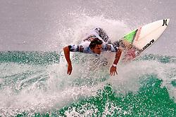 HUNTINGTON BEACH, California/USA (Sunday, August 8, 2010) - Brett Simpson at US Open of Surfing Semifinals Heat1. Brett defeated Nine-Time World Champion Kelly Slater by a slim margin of 0.04. Brett scored 13.37 and Kelly 13.33