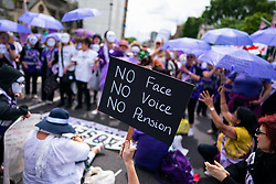 © Licensed to London News Pictures. 05/06/2019. London, UK. Demonstrators from Women Against State Pension Injustice Campaign (WASPI) campaign around Parliament Square in Westminster, and block the road causing a traffic standstill. Today a decision will be made at a Judicial Review in the High Court on whether the increase on women's pension age from 60 to 66 years is fair. Photo credit : Tom Nicholson/LNP