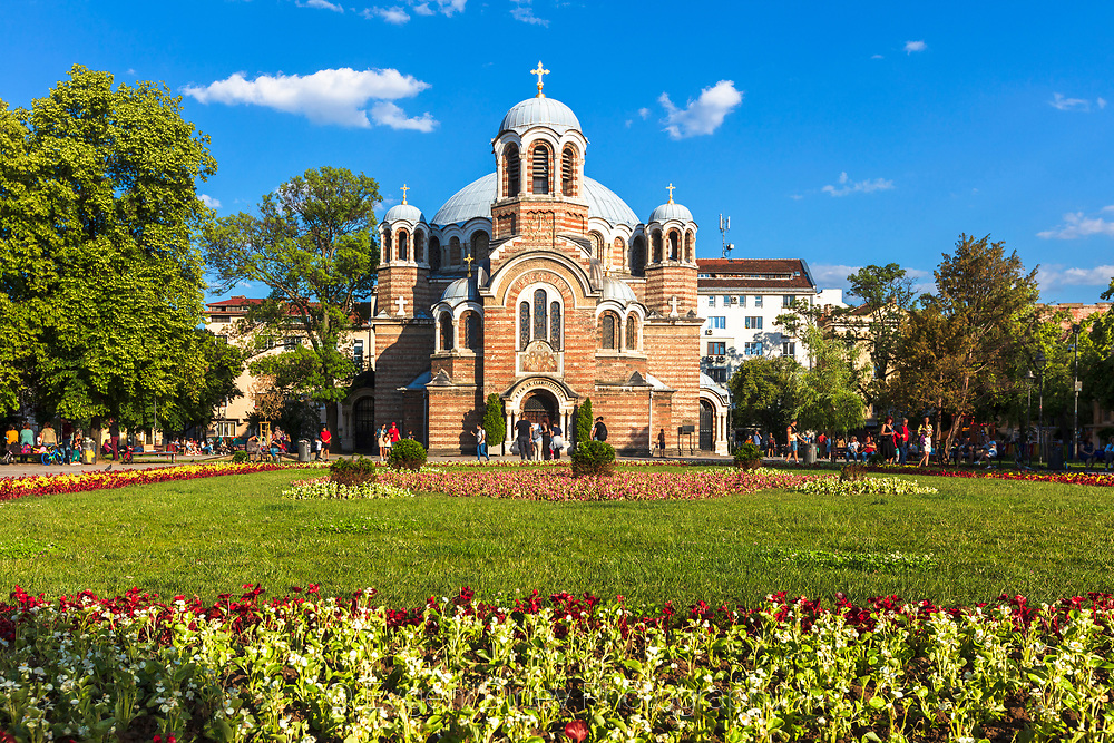 Bulgarian Orthodox Church, built on a century-old mosque, with a beautiful garden