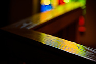 The communion rail with stained glass in the background, on Tuesday, Aug. 24, 2021, at Grace Lutheran Church, Summerville, S.C. LCMS Communications/Erik M. Lunsford