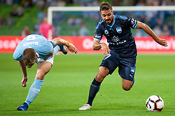 November 2, 2018 - Melbourne, VIC, U.S. - MELBOURNE, VIC - NOVEMBER 02: Sydney FC defender Michael Zullo (7) runs the ball upfield at the Hyundai A-League Round 3 soccer match between Melbourne City FC and Sydney FC on November 02, 2018, at AAMI Park in Melbourne. (Photo by Speed Media/Icon Sportswire) (Credit Image: © Speed Media/Icon SMI via ZUMA Press)