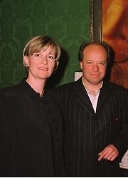 Artist PAUL KARSLAKE and MRS PAUL KARSLAKE at an exhibition in London on 14th July 1998.MJB 5
