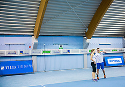 Manca Pislak and Grega Zemlja at Tennis Exhibition after the Slovenian Tennis personality of the year 2014 annual awards presented by Slovene Tennis Association TZS , on December 6, 2014 in Millenium Centre, BTC, Ljubljana, Slovenia. Photo by Vid Ponikvar / Sportida