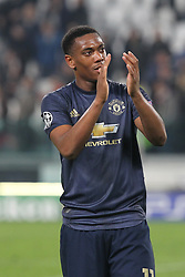 November 7, 2018 - Turin, Piedmont, Italy - Anthony Martial (Manchester Utd. FC) celebrates the victory after the UEFA Champions League match between Juventus FC and Manchester United FC,  at Allianz Stadium on November 07, 2018 in Turin, Italy..Juventus FC lost 1-2 against Manchester United. (Credit Image: © Massimiliano Ferraro/NurPhoto via ZUMA Press)