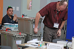 Broward election planning director Joseph D'Alessandro, right, works in the recount votes during the Florida midterm election recount on Tuesday, November 13, 2018, at the Broward Supervisor of Elections office in Lauderhill, FL, USA. Photo by Christian Colon/Miami Herald/TNS/ABACAPRESS.COM