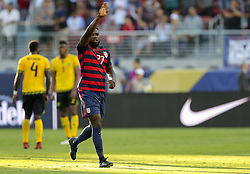 July 26, 2017 - Santa Clara, CA, USA - Santa Clara, CA - Wednesday July 26, 2017: Jozy Altidore celebrates his goal during the 2017 Gold Cup Final Championship match between the men's national teams of the United States (USA) and Jamaica (JAM) at Levi's Stadium. (Credit Image: © Bob Drebin/ISIPhotos via ZUMA Wire)