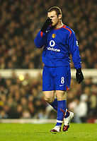 Photo: Daniel Hambury.<br />Arsenal v Manchester United. The Barclays Premiership.<br />03/01/2006.<br />United's Wayne Rooney rues a missed chance.