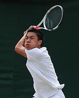 Tennis - 2019 Wimbledon Championships - Week Two, Wednesday (Day Nine)<br /> <br /> Boy's Singles, Quarter-Final: Brandon Nakashima (JPN) v Harold Mayot (FRA)<br /> <br /> Brandon Nakashima , on Court 15.<br /> <br /> COLORSPORT/ANDREW COWIE