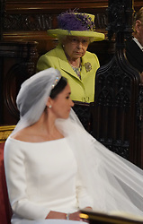 Queen Elizabeth II during the wedding of Prince Harry and Meghan Markle at St George's Chapel, Windsor Castle.