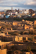Stacks of bricks near the river to supply the building boom in captial city Antananarivo, Madagascar