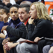 UNCASVILLE, CONNECTICUT- MAY 05:  Curt Miller, Connecticut Sun head coach on the bench with Assistant Coach Nicki Collen during the San Antonio Stars Vs Connecticut Sun preseason WNBA game at Mohegan Sun Arena on May 05, 2016 in Uncasville, Connecticut. (Photo by Tim Clayton/Corbis via Getty Images)