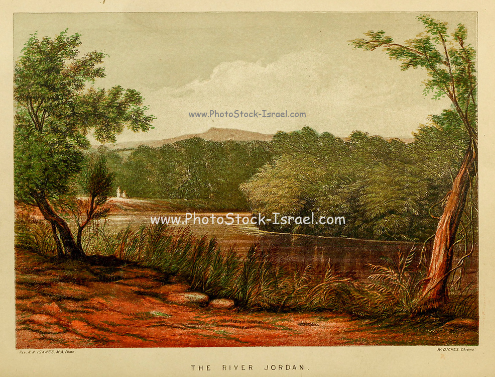 The River Jordan from the book Scenes in the East : consisting of twelve coloured photographic views of places mentioned in the Bible, with descriptive letter-press. By Tristram, H. B. (Henry Baker), 1822-1906; Published by the Society for Promoting Christian Knowledge (Great Britain) in London in 1872