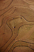 Rice: aerial of 3 rice harvesters near Richvale, California, USA. 1980.