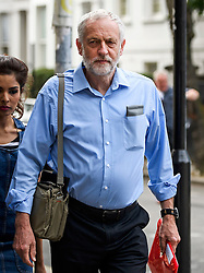 © London News Pictures. 28/07/2016. London, UK. Labour Party leader JEREMY CORBYN leaves his London home on the day that a verdict is due at the Royal Courts of Justice on Labour donor Michael Foster's attempt to overturn a decision by the NEC that guarantees Corbyn a place on the Labour Party leadership ballot.  Photo credit: Ben Cawthra/LNP