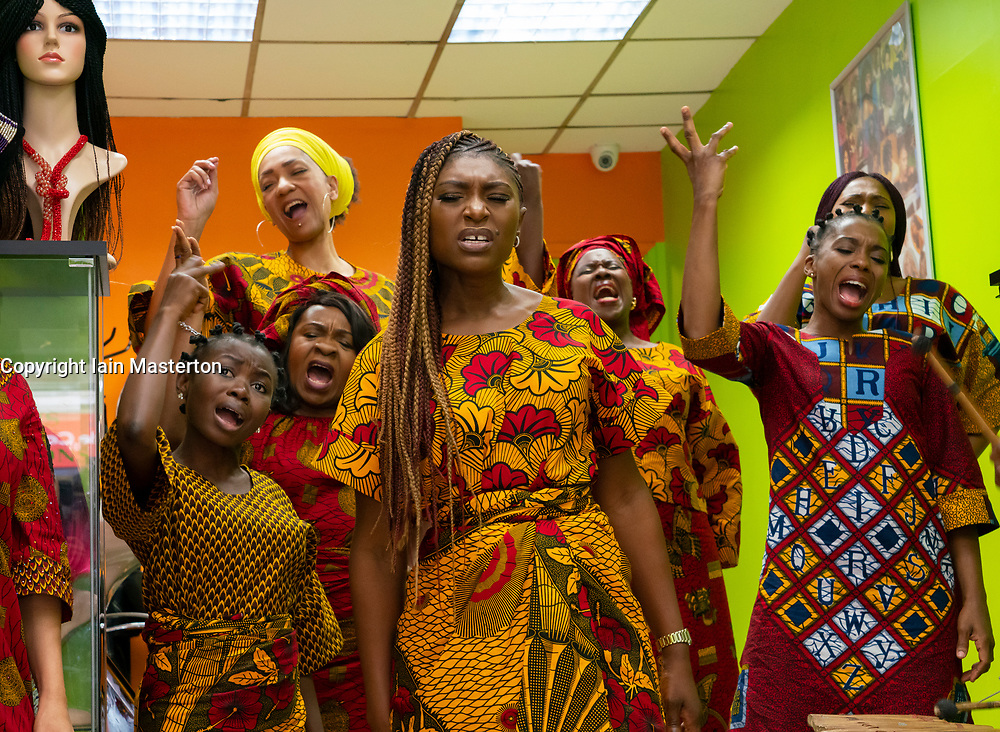 Edinburgh, Scotland, UK. 20 August 2019. Edinburgh International Festival. Hear Word! cast at Colleen's Culture Lounge in Leith. Ten of Nigeria's biggest stars come together to tell stories of domestic violence, overturning the status quo, abuse, disrespect, bravery, sisterhood and joy. Hear Word! is Nigerian pidgin English for 'Listen and Comply'. In this unflinchingly honest performance, ten of Nigeria's biggest stars of theatre, film and television come together on stage to tell multi-generational stories of inequality and transformation.<br /> Hear Word! gives an intimate view into the obstacles that Nigerian women face. Stories of domestic violence, of women's absence from positions of power, of resilience and resistance, of shattering the culture of silence, of overturning the status quo, of abuse, disrespect, bravery, sisterhood and joy. Iain Masterton/Alamy Live News.<br /> Edinburgh, Scotland, UK. 20 August 2019. Edinburgh International Festival. Hear Word! cast at Colleen's Culture Lounge in Leith. Ten of Nigeria's biggest stars come together to tell stories of domestic violence, overturning the status quo, abuse, disrespect, bravery, sisterhood and joy. Hear Word! is Nigerian pidgin English for 'Listen and Comply'. In this unflinchingly honest performance, ten of Nigeria's biggest stars of theatre, film and television come together on stage to tell multi-generational stories of inequality and transformation.<br /> Hear Word! gives an intimate view into the obstacles that Nigerian women face. Stories of domestic violence, of women's absence from positions of power, of resilience and resistance, of shattering the culture of silence, of overturning the status quo, of abuse, disrespect, bravery, sisterhood and joy. Iain Masterton/Alamy Live News.