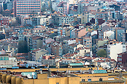 Skyline cityscape apartment blocks and offices of Karakoy and Beyoglu satellite dishes infrastructure in Istanbul, Turkey