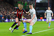 David Brooks (20) of AFC Bournemouth looks to beat Declan Rice (41) of West Ham United during the Premier League match between Bournemouth and West Ham United at the Vitality Stadium, Bournemouth, England on 19 January 2019.