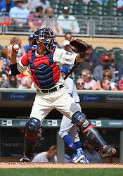 May 2, 2018 - Minneapolis, MN, U.S. - MINNEAPOLIS, MN - MAY 02: Minnesota Twins Catcher Jason Castro (15) throws to 2nd during a MLB game between the Minnesota Twins and Toronto Blue Jays on May 2, 2018 at Target Field in Minneapolis, MN.The Twins defeated the Blue Jays 4-0.(Photo by Nick Wosika/Icon Sportswire) (Credit Image: © Nick Wosika/Icon SMI via ZUMA Press)
