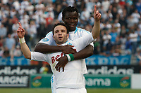 FOOTBALL - FRENCH CHAMPIONSHIP 2010/2011 - L1 - OLYMPIQUE MARSEILLE v AJ AUXERRE - 1/05/2011 - PHOTO PHILIPPE LAURENSON / DPPI - JOY MATHIEU VALBUENA (OM) AFTER HIS GOAL WITH TAYE ISMAILA TAIWO (OM)